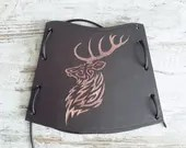 Brown leather armguard for archery, Celtic deer engraving design, handmade in Italy gift idea for him, high leather cuff for Amazon women