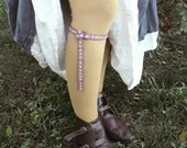 Pair of calf straps, hand-woven medieval spats, middle-aged ladies and knights clothing accessories