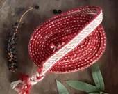 Tablet weaving string Oseborg style, reddish colours, lenght 290 cm, bordures for medieval dress, woven belt for viking woman, gift for her