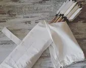 Cotton quiver for belt with loop for hooking and closure to protect feathers, medieval archer accessory, for historical reenactment