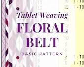 Tablet weaving pattern floral belt, card weaving tutorial for beginners, medieval weaving