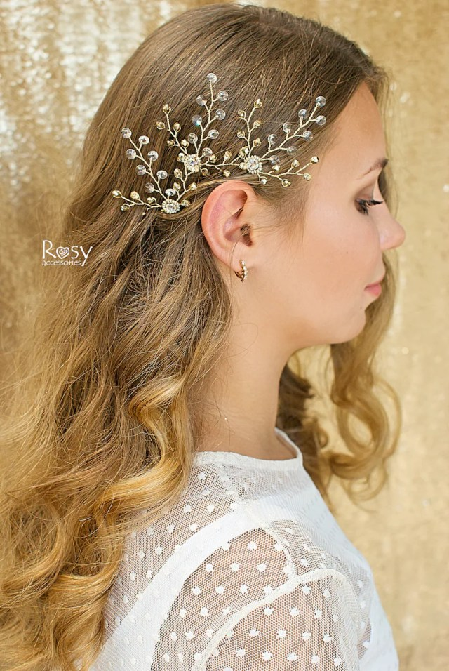 gold hair accessories, swarovski crystal pin, hair pins, wedding pins, bridal hair pins, wedding hair accessory, bridal hair accessory
