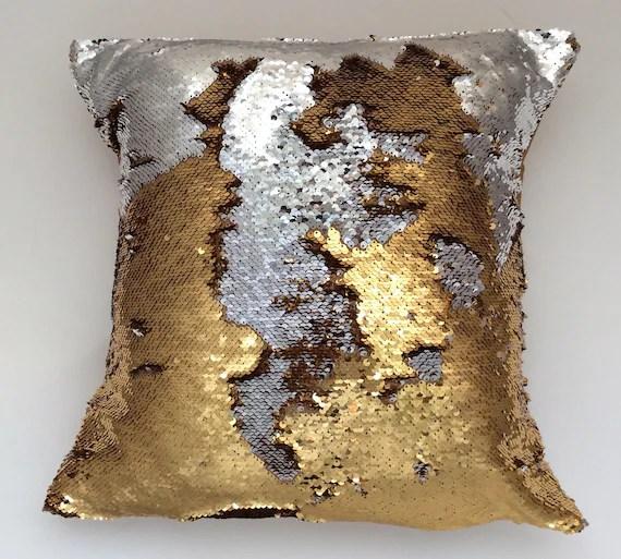 mermaid sequin pillow gold reversible pillow silver pillow cover gold throw pillow gold and silver reversible sequin throw pillow