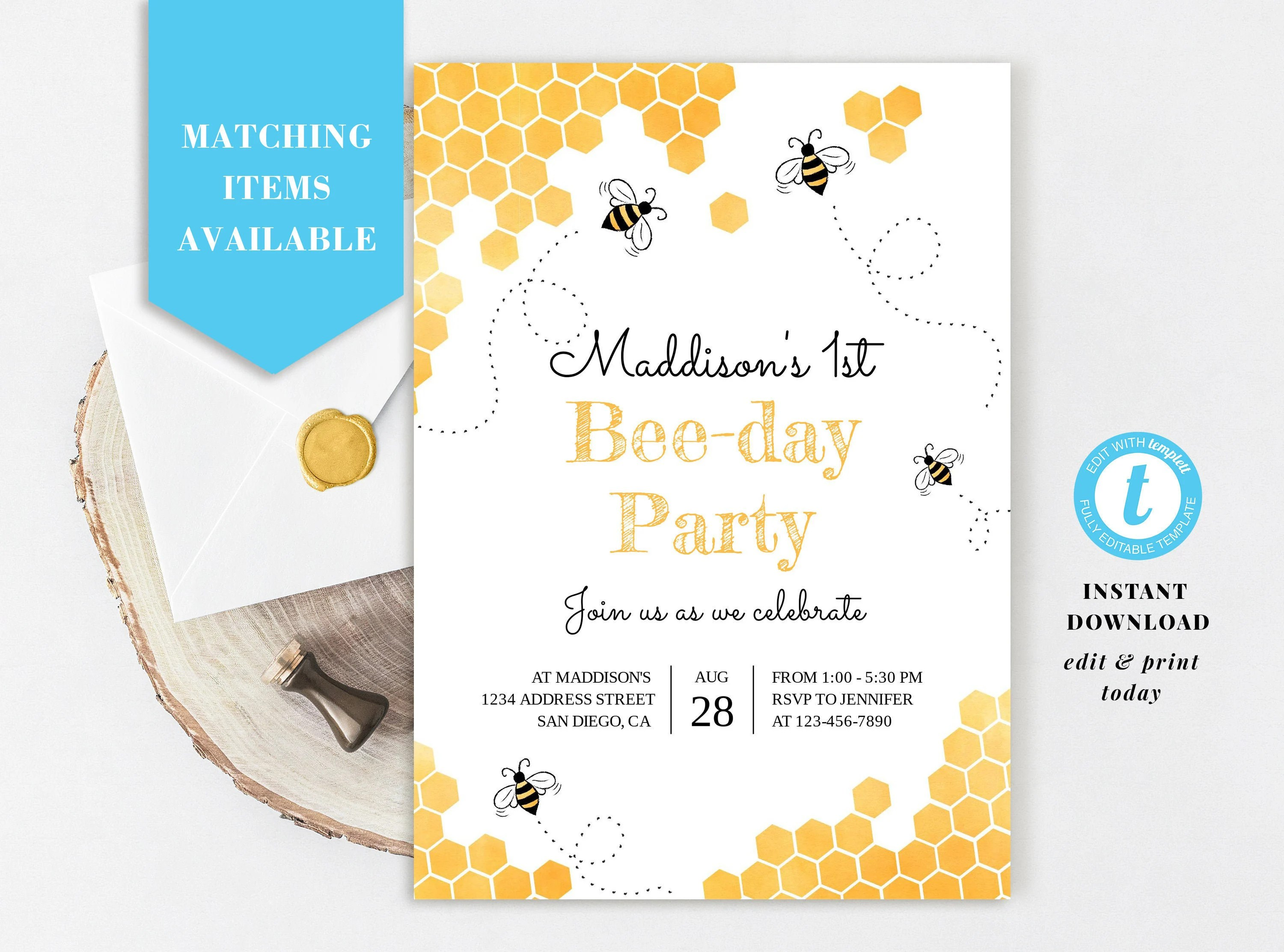 honey bee invitation etsy