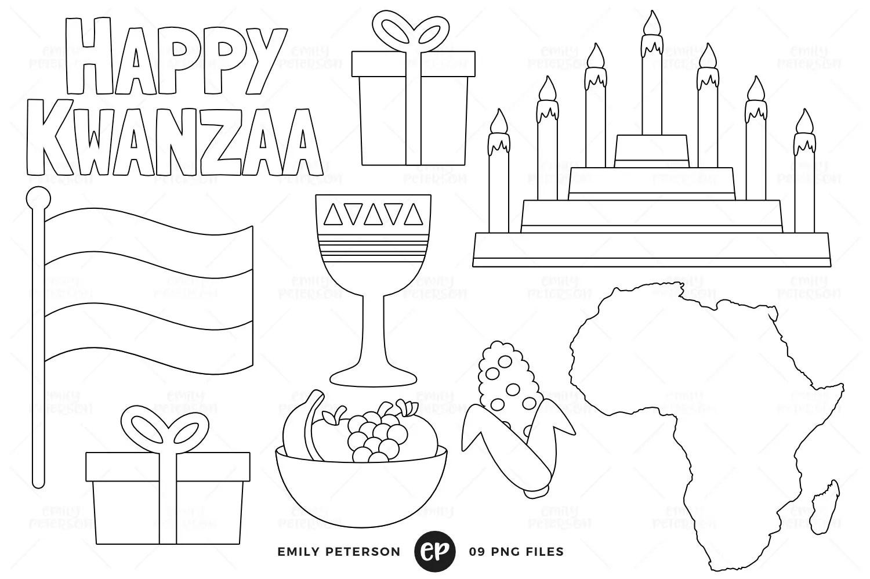 Kwanzaa Digital Stamps African American Line Art Kinara