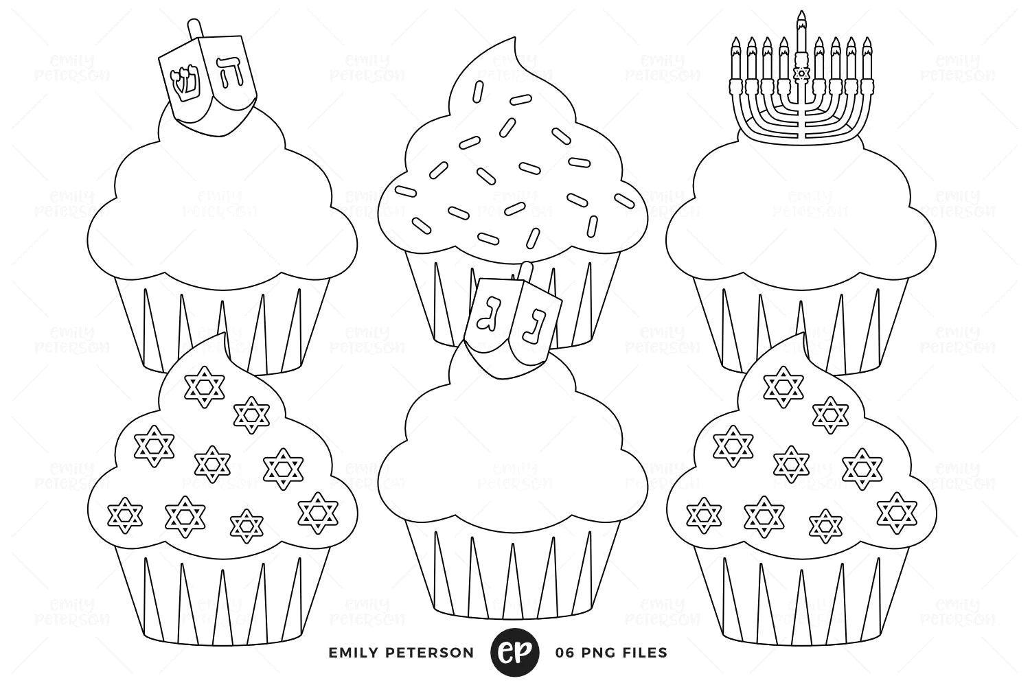 Hanukkah Digital Stamps Cupcakes Line Art Holiday Cupcakes