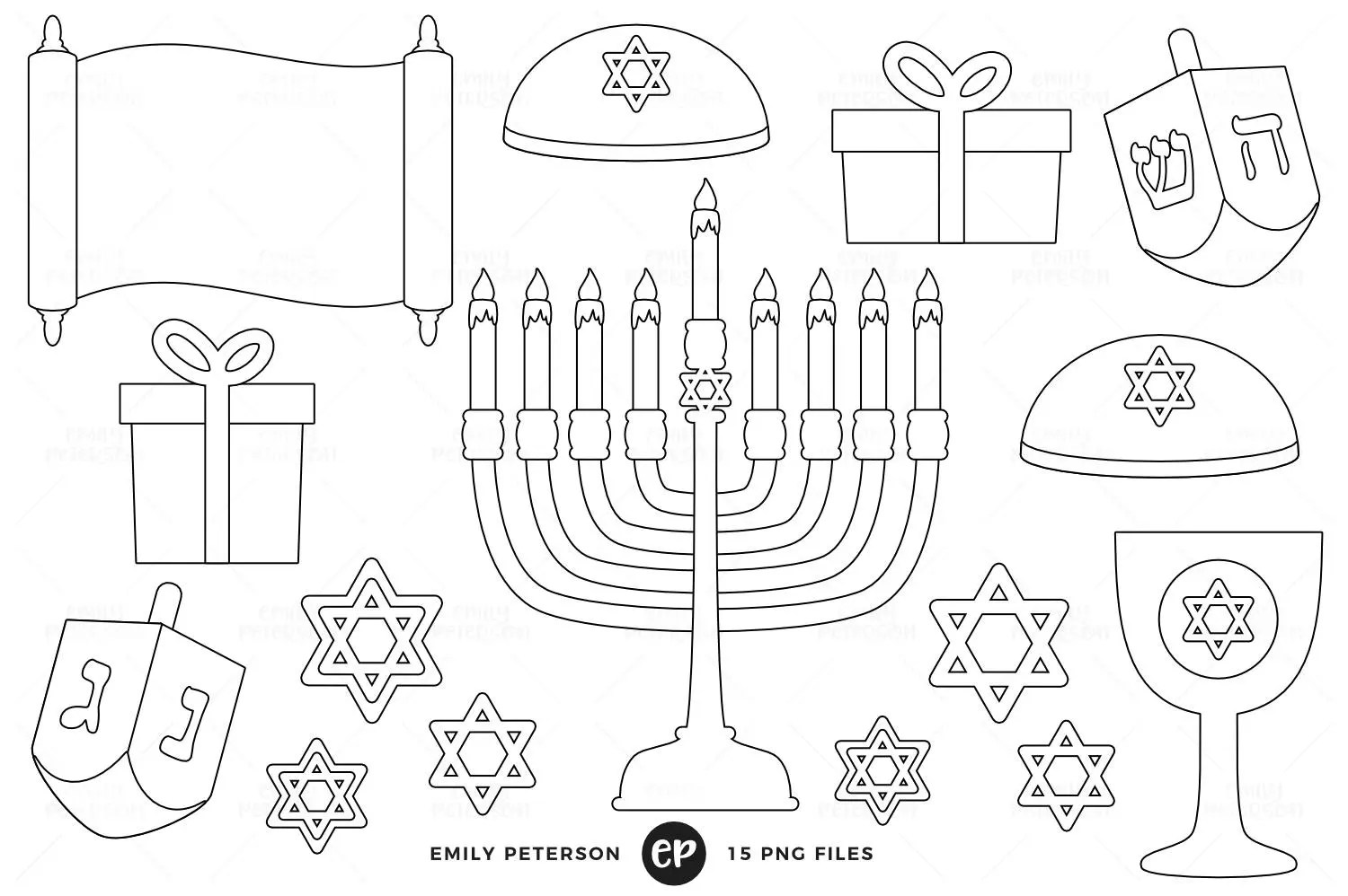 Hanukkah Digital Stamps Dreidel Line Art Menorah Clip Art