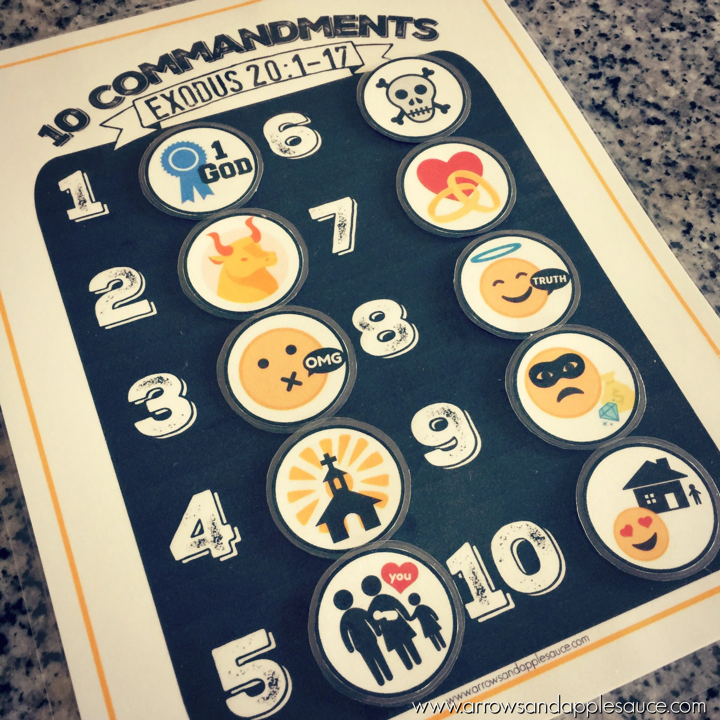 Ten Commandments Printable Memory Game Kids Activity Bible