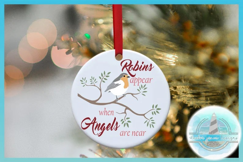 Download Robins Appear When Angels Are Near Memorial Quote SVG ...