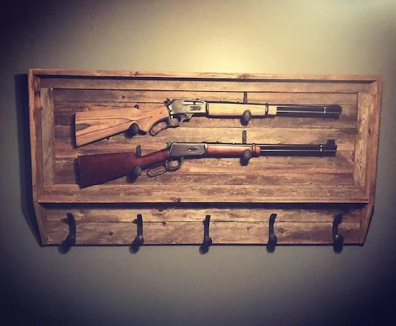 rustic gun rack coat rack hat rack reclaimed wood railroad etsy
