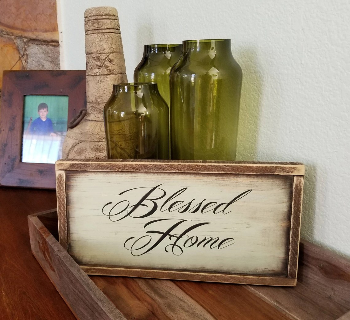 Blessed Home sign. Rustic wooden Blessed Home sign ...