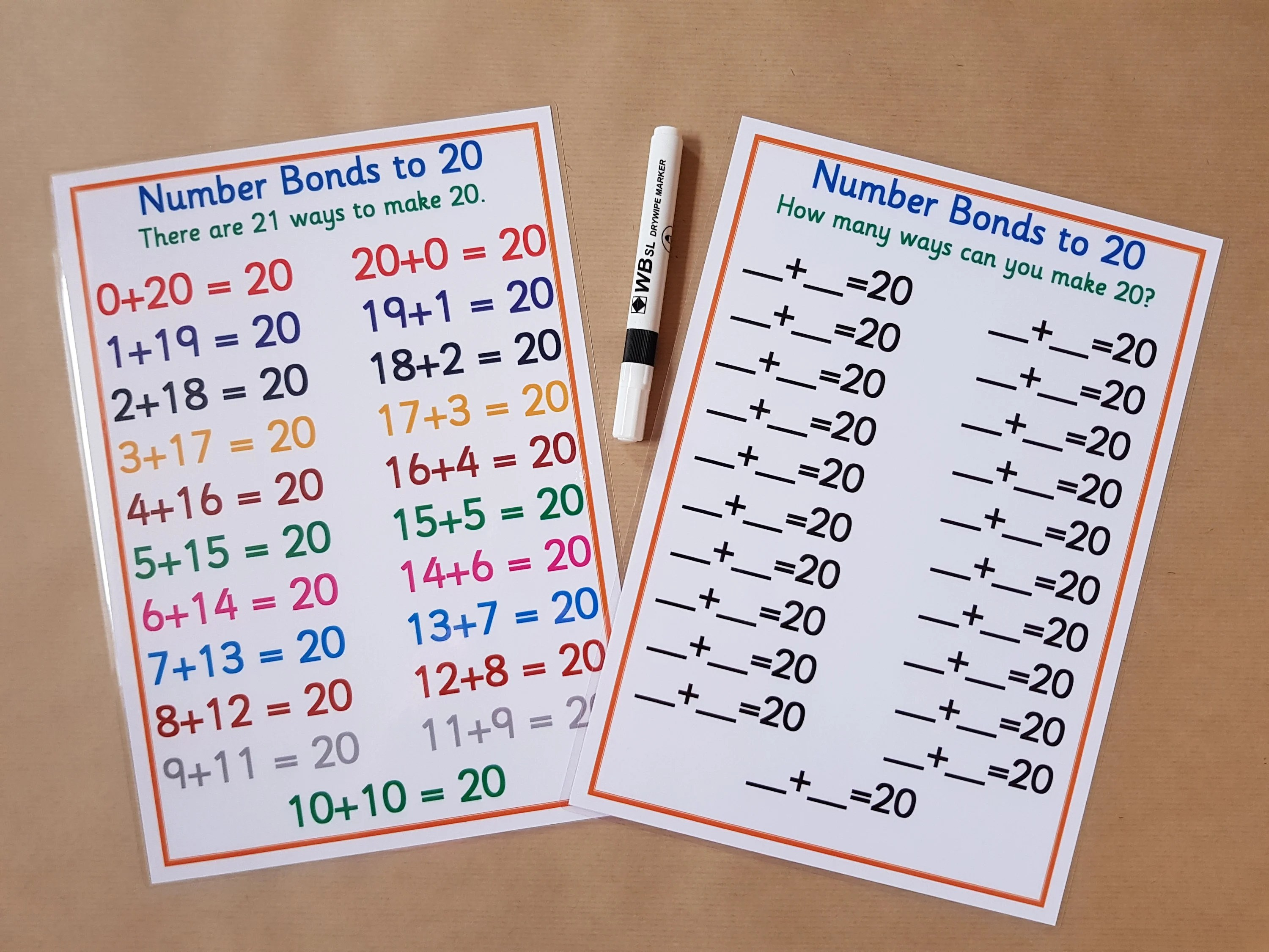 Number Bonds To 20 Reusable Worksheet Year 1 Ks1