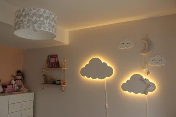 Cloud Night Light Wood Kids Lamp Baby Room Led Lamp Nursery Etsy