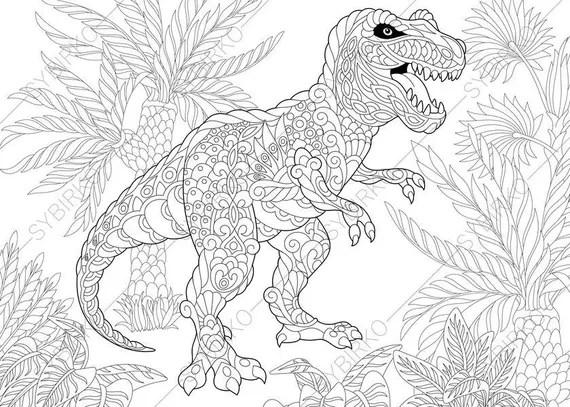 Tyrannosaurus Dinosaur T Rex Dino Coloring Pages Animal Etsy