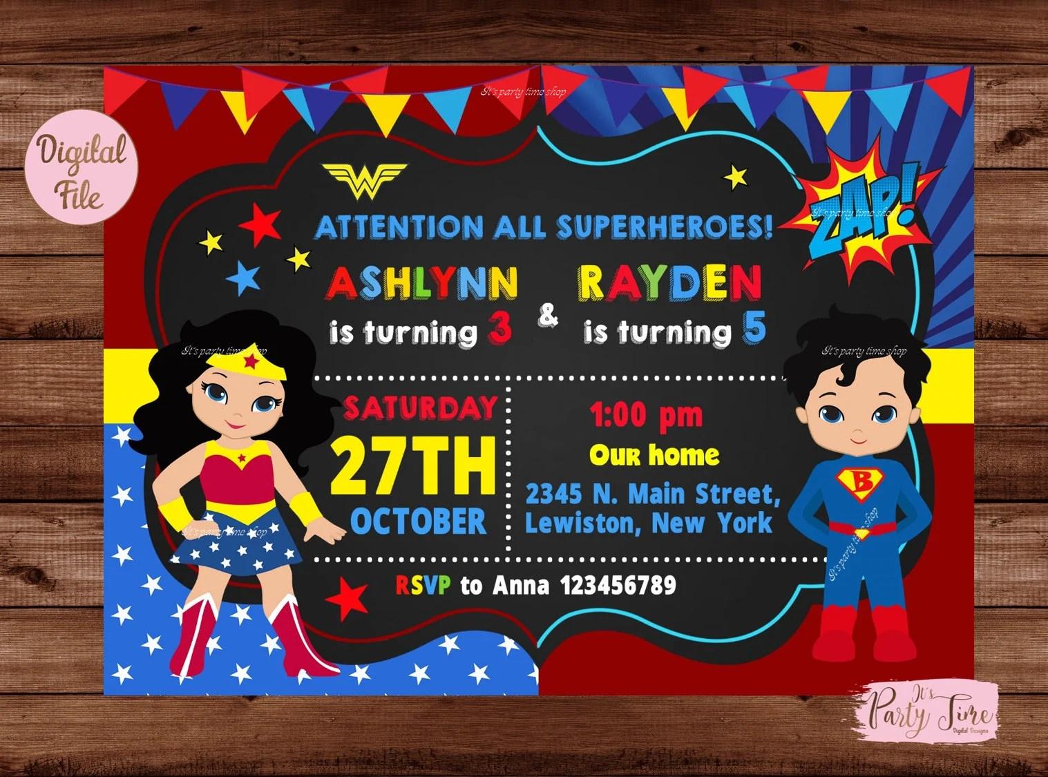superheroes birthday invitation wonder woman and superman invitation double kids party brother sister invitation digital file