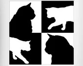 4 Black and White Cat Silhouettes, Digital Download, Printable Wall Art, Home Décor, Veterinarian Office Art, Instant Download, Cat Art