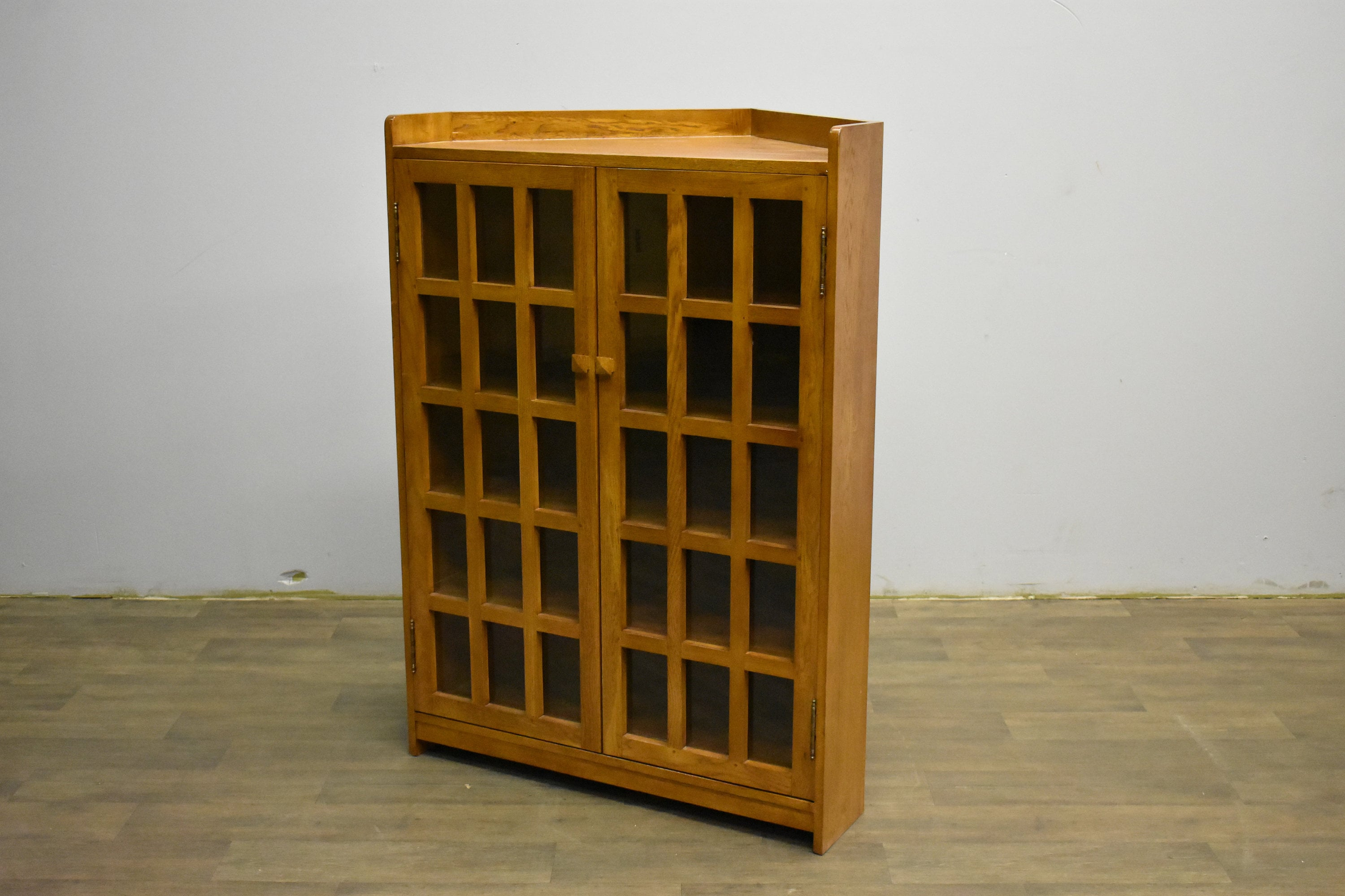 Arts And Crafts Mission Solid Oak Double Door Corner Bookcase Cabinet Michael S Cherry