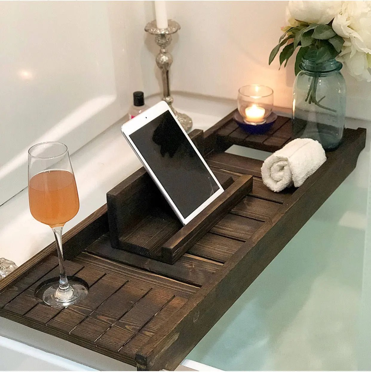 Bath Tray With Wine Holder Bath Caddy Bath Tray With IPad