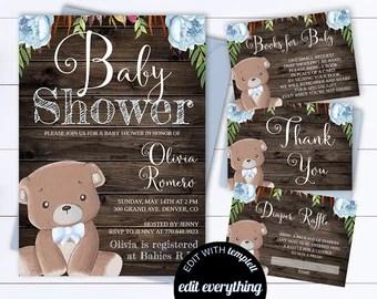 Bear Rustic Baby Shower Invitation Invite Woodland Teddy