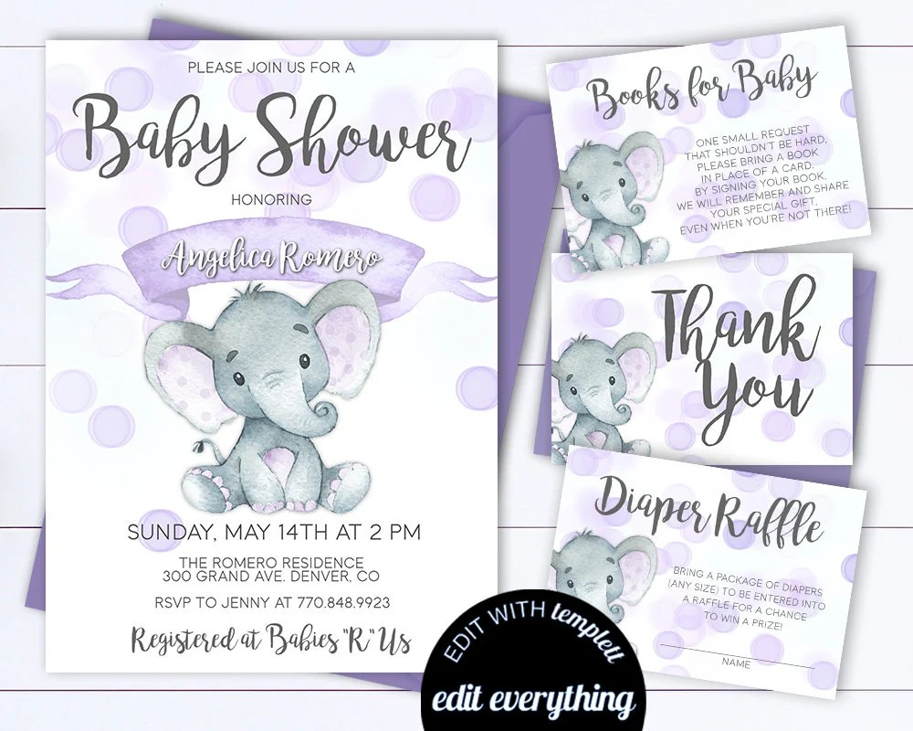 Purple Shower Baby And Gray