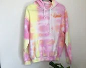 Peachy Tie Dye Hoodie with Embroidered Patch (M)