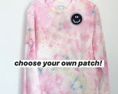 Tie Dye Sweatshirt with optional Embroidered patch (M)