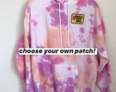 Tie Dye Hoodie with optional embroidered patch (L)