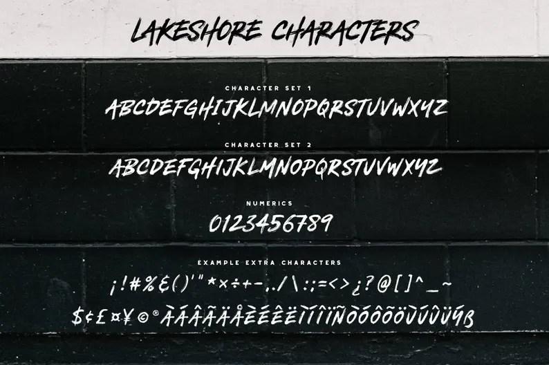 Download Lakeshore Brush Font Pack Painted / Messy / Handwritten ...