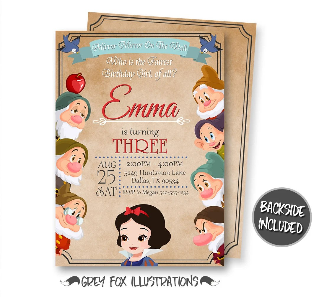 snow white invitation etsy