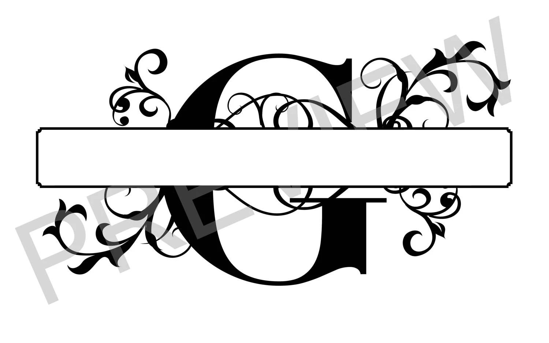 Split Monogram Svg Letter G Regal Split Alphabet Vector