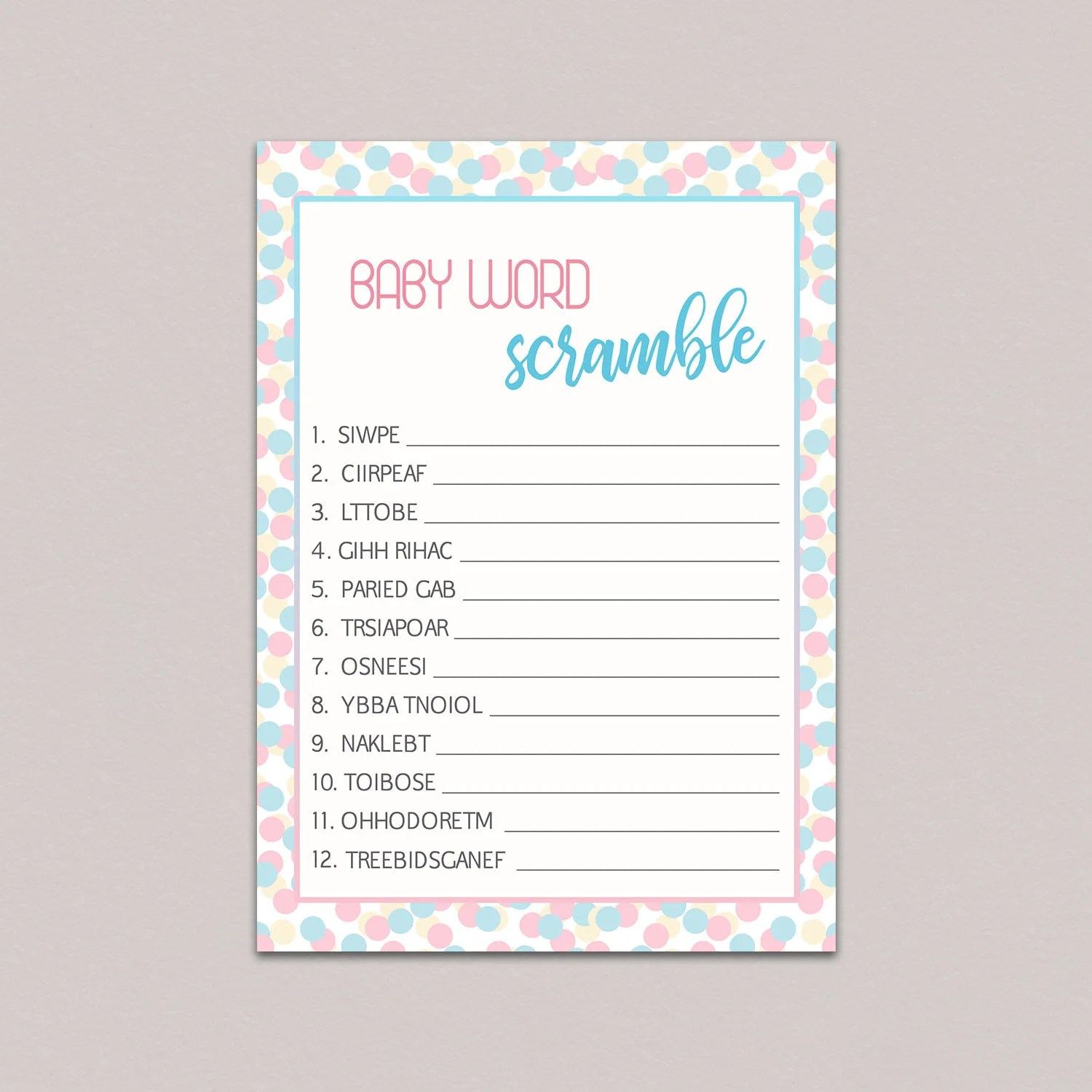 Gender Reveal Party Games Baby Word Scramble Game Baby
