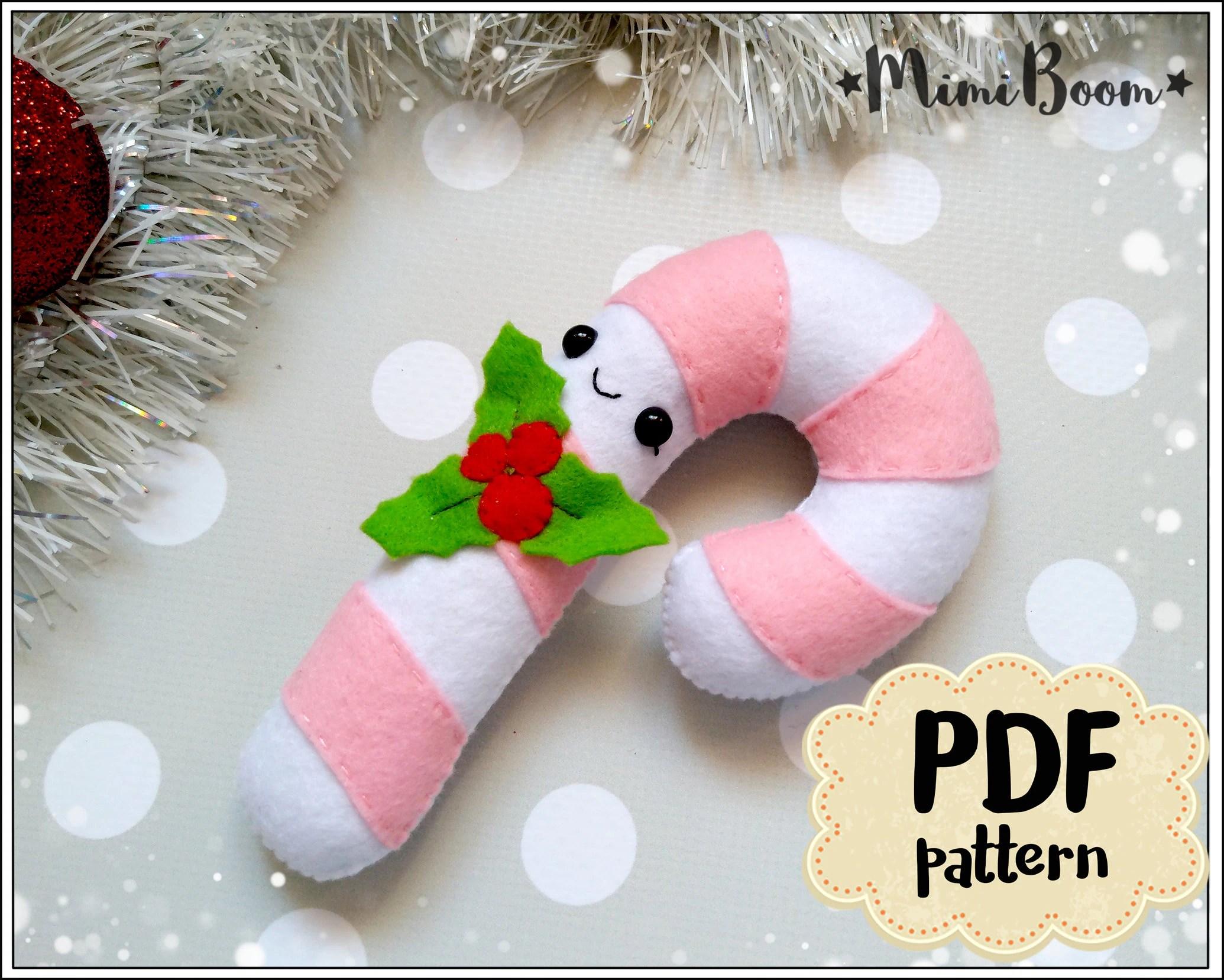 Candy Cane Felt Pattern Christmas Felt Pattern Candy Cane