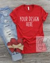 Red Bella Canvas 3001 Valentines Day Flat Lay Mock Up Red Etsy