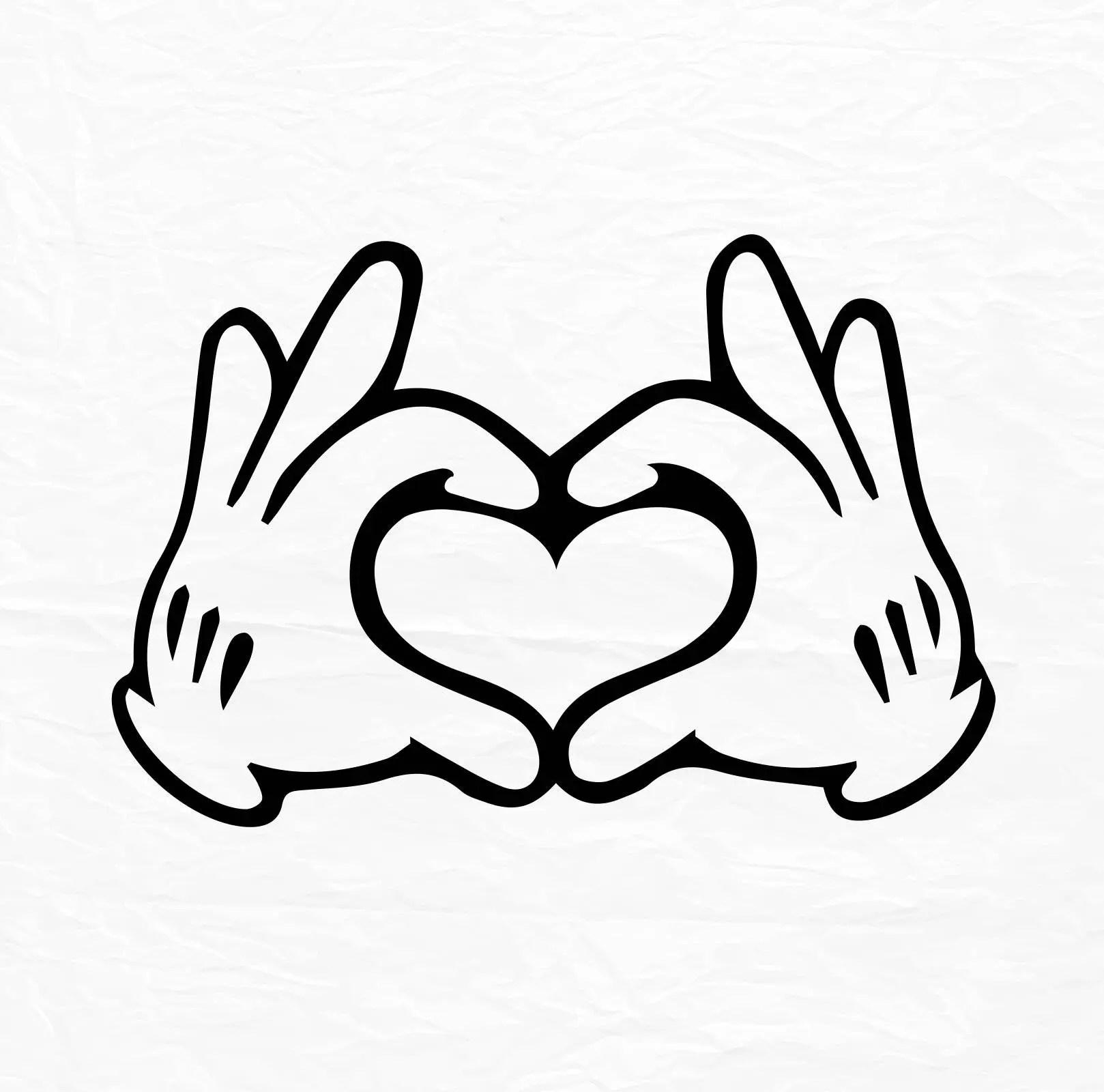 Handschuh Maus Hand Herz Liebe Design Liebe Svg Disney