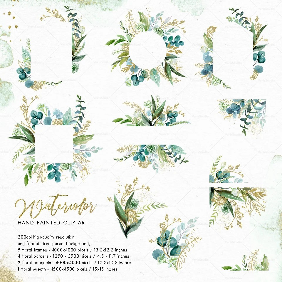 watercolor green gold leaves frames