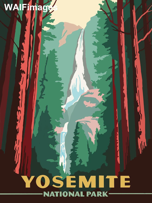 yosemite nationalpark mid century us park poster digitalisiert und neu erfunden fur ihre anzeige als wand oder karte kunst