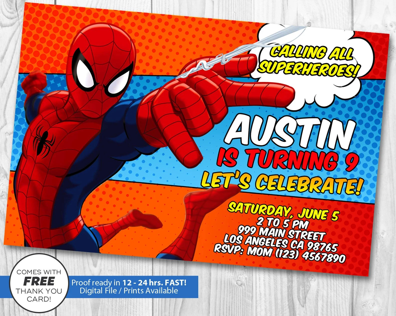 spiderman invitation spiderman birthday invitation spider man invitation spiderman invites free spider man thank you card