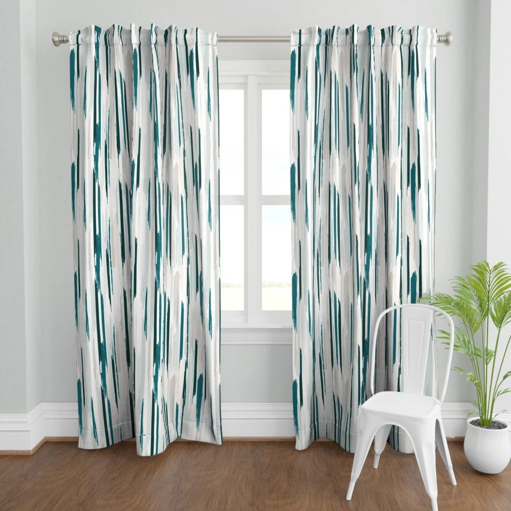 teal grey curtains etsy