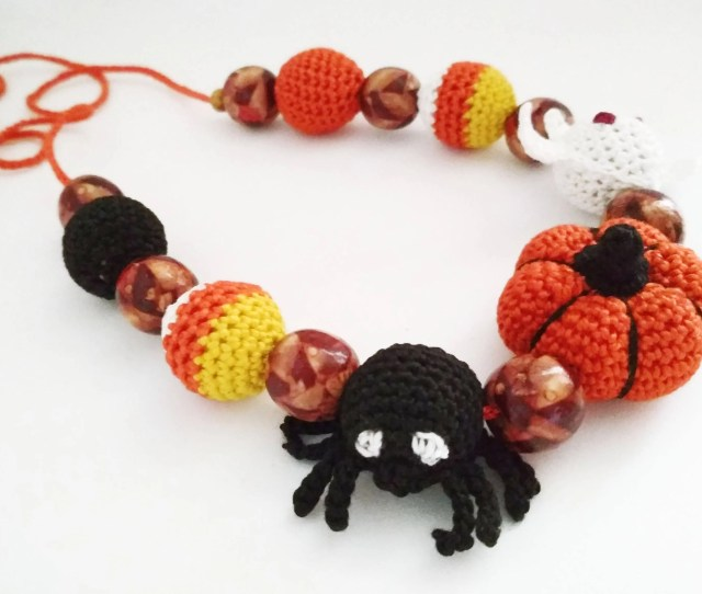 Halloween Necklace Crochet Jewelry For My Daughter Funny Halloween Gift To Niece Toddler Halloween Gifts Kids