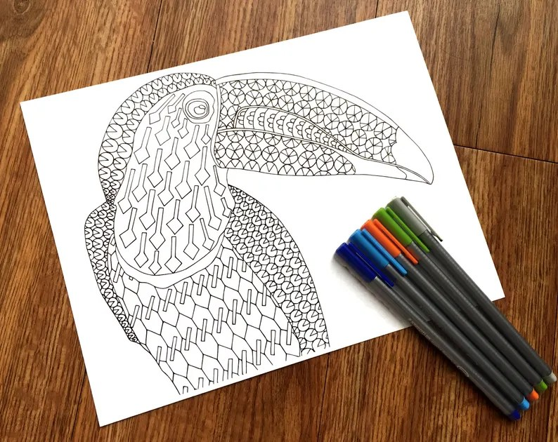 toucan pdf zentangle coloring page bird therapy coloring
