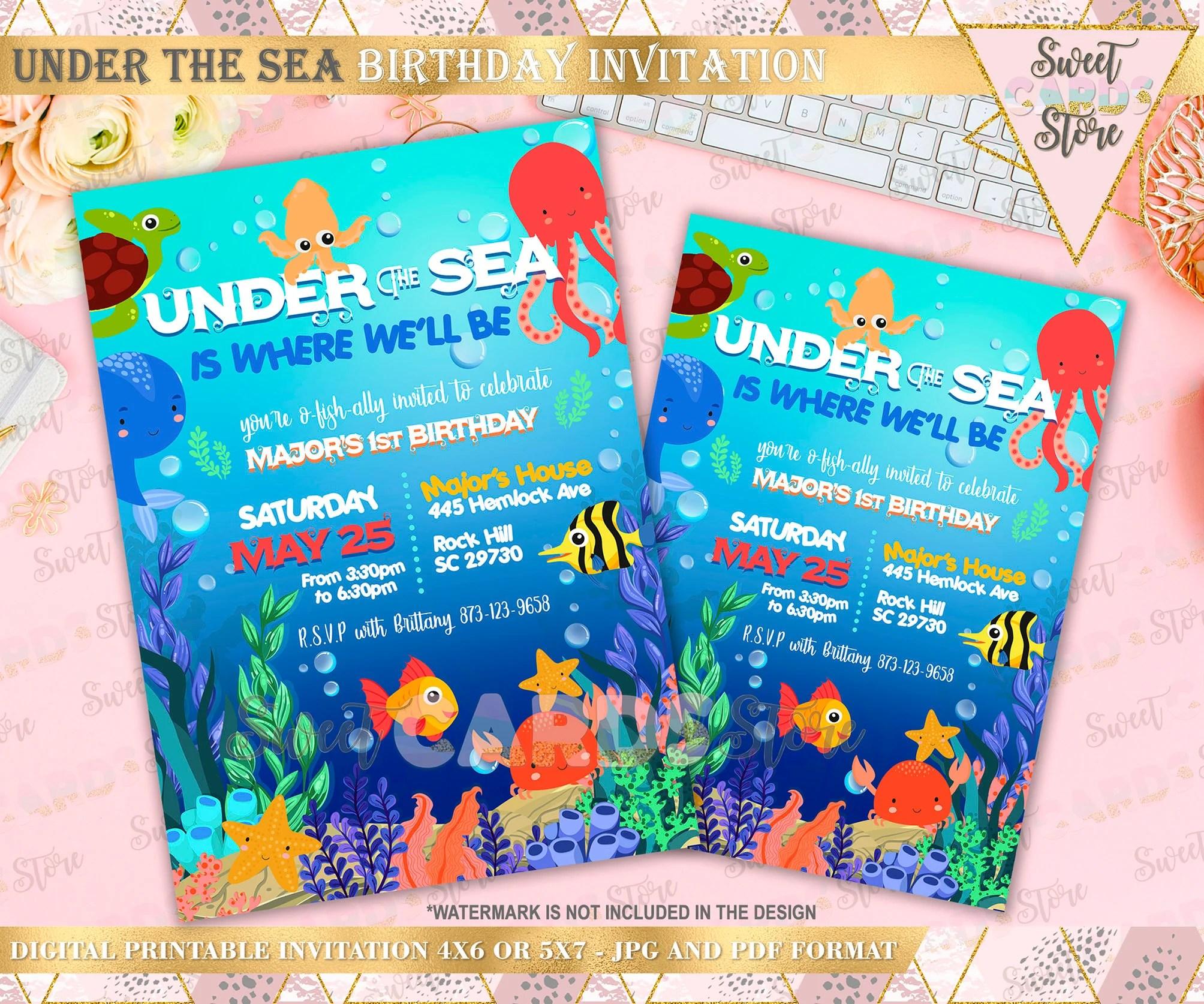 under the sea cute invitation under the sea party under sea boy birthday invitation under sea underwater invitation under the sea invite