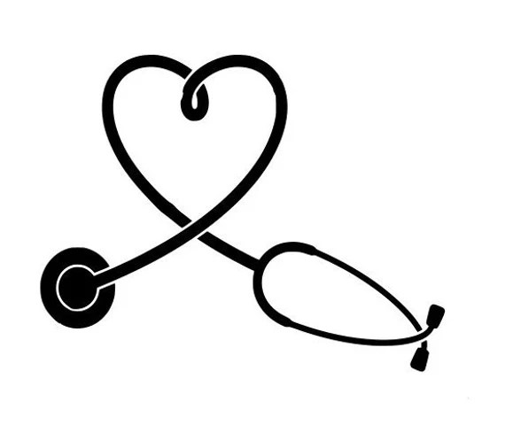 Stethoscope Svg Heart Shape Outline Laptop Cup Decal Svg Etsy