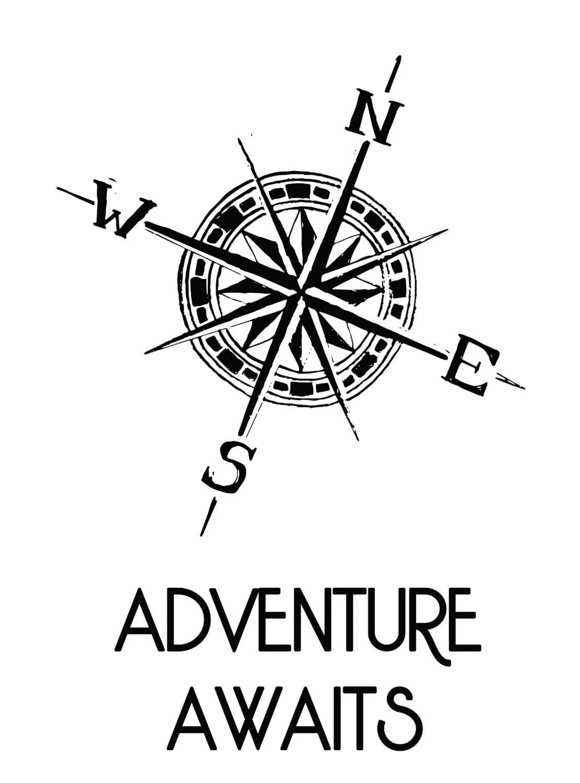 Adventure Awaits Compass Poster Digital Drawing