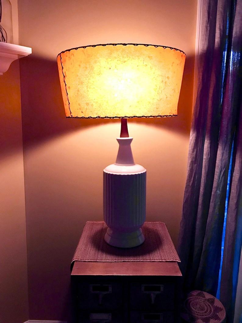 Mid Century White Ceramic Lamp Ceramic And Teak Lamp White Etsy