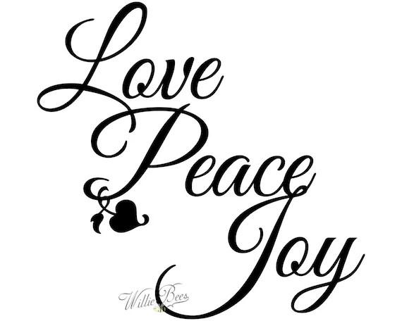 Download Peace Love Joy Silhouette Words Wall Art Letters Heart   Etsy