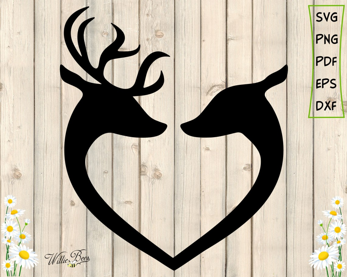 Download Buck and Doe SVG Deer Couple Silhouette Male And Female | Etsy