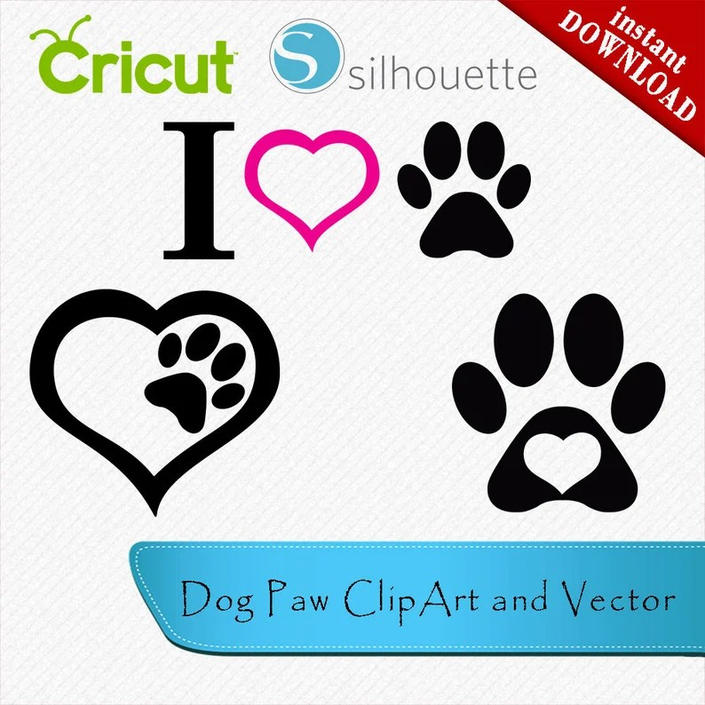 Download Dog Paw svg with heart I Love Dogs Dog Love clipar Dog Paw ...