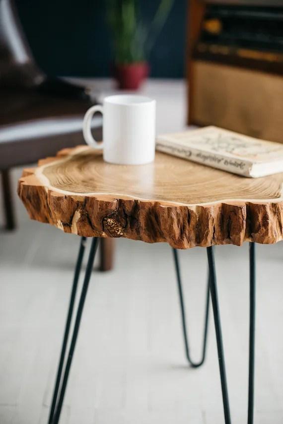wood slab coffee table live edge coffee table rustic wood slab coffee table modern hairpin legs end table mid century coffee table