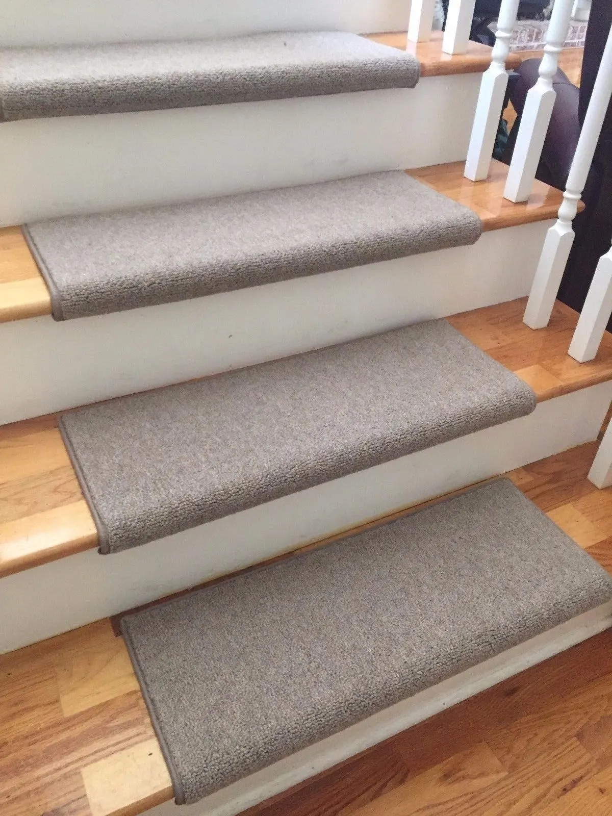 Richmond Taupe New Zealand Wool True Bullnose™ Padded Carpet | Individual Carpet Stair Treads | Bullnose Carpet | Wood | Hardwood | Flooring | Spiral Staircase