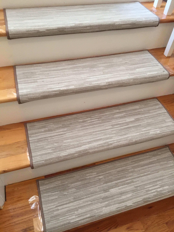 Velvet Chic Shale Stone True Bullnose™ Padded Carpet Stair Tread   True Bullnose Stair Treads   Rug Runner   Stair Runner   Flooring   Basement Stairs   Comfort Safety